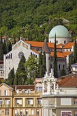 Opatija Church of the Annunciation above hotels fronting Adriatic Sea