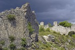 Ruins of Vrana fortress of Knights Templar, where crown of Croatian King once kept