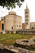 Zadar Old City, Roman Forum ruins foreground with St Donat Church and Cathedral of St Anastasia
