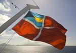 Celebrity Cruises Bahamas Civil Ensign registry flag on their cruise ship Dynasty in the Caribbean