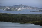 Kornati Islands archipelago with town and island of Murter and Lake Vrana in foreground