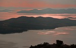 Kornati Islands National Park archipelago in Adriatic with Lake Vrana in foreground at sunset