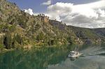 Passenger ferry to Krka National Park on Krka River near Skradin