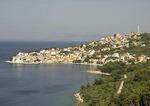 Igrane on Adriatic coast with island of Hvar in background
