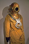 Dalmatian coast sponge diving suit displayed at Spongiola Hotel on island of Krapanj