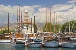 Split waterfront with masts of sailing yachts and tower of Diocletian's Palace