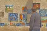 Modern paintings displayed in Split's Old Town