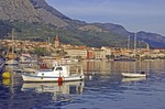 Makarska waterfront along Adriatic below Mount Biokovo