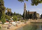 Hvar beach next to Franciscan Monastery, on island of Hvar in Adriatic