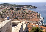 Hvar town viewed from Spanjola fortress above, on island of Hvar