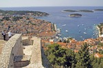 Hvar town and harbour viewed from Spanjola fortress above, on island of Hvar