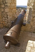 Hvar's Spanjola fortress cannon, overlooking town and harbor on island of Hvar