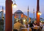 Istanbul diners at Blue Moon rooftop restaurant near Aya Sofya (Hagia Sophia)