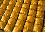 Turkish baklava filo dough pastry in it's native city of Gaziantep
