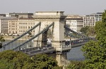 Budapest's Szechenyi Chain Bridge over Danube River looking toward Pest