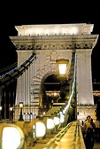 Budapest's Szechenyi Chain Bridge over Danube River at night