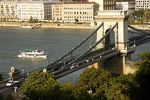 Budapest's Szechenyi Chain Bridge over Danube River from Buda Castle Hill looking toward Pest