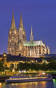 Cologne Cathedral on Rhine River at night