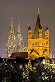 Great St Martin's Church and Cologne Cathedral at night