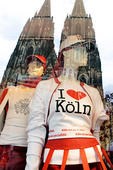 Cologne Cathedral reflected in shop window