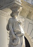 Budapest building statuary at 23 Andrassy Ut location of Gucci and Roberto Cavalli shops