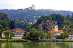 Maria Taferl Basilica above Danube River town of Marbach