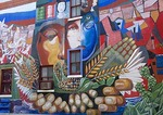 "Houston's East End Hispanic neighborhood, 1985 mural ""The United Community"" by Multicultural Education & Counseling through the Arts (MECA)"