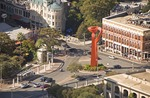 San Antonio downtown street intersection with Torch of Friendship monument next to River Walk