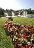 San Antonio's HemisFair Plaza water fall fountain and flowering landscape