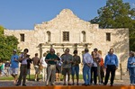San Antonio Missions, tourists at The Alamo (AKA Mission San Antonio de Valero), State Historic Site