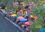 San Antonio Riverwalk river side Casa Rio Restaurant in evening