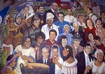 San Antonio's Mi Tierra Mexican Restaurant in Market Square, historical mural of famous San Antonians