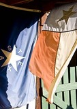 Texas Hill Country, Dixie Dude Ranch, old Texas flags on work shed