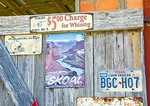 Texas Hill Country, Dixie Dude Ranch, Texan signs on work shed