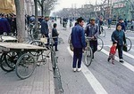 Beijingers on street in 1979 on winter day