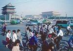Beijing's Tian An Men Square in 1988 from southeast corner with Qian Men (Front) Gate and Mao Mausoleum