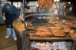 Texas Barbecue family style at The Salt Lick BBQ uses smoky traditional pit open wood fire in Driftwood, near Austin