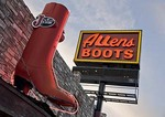 Austin's South Congress Avenue (SoCo) landmark Allens Boots neon sign