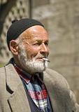 Elderly Turkish man smoking cigarette in Erzurum in Eastern Turkey