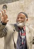Elderly Turkish man smoking cigarette in Erzurum in Eastern Turkey
