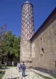 Erzurum's Yakutiye Medrese tiled minaret built in 1308, now Turkish-Islamic Arts & Ethnography Museum