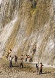 Muradiye Waterfall (AKA Bendimahi), with children playing, near village of Degerbilir in Van area