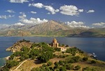 Akdamar Island on Lake Van with 10th century Armenian Church of the Holy Cross