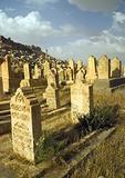 Mardin, old cemetery tombstones, overlooking old city