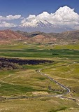Mt. Ararat, snow-capped extinct volcano and site of Noah Biblical story, with highway south to Van