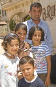 Kurdish Turk father with his children in Sanliurfa (Urfa)