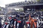 Amsterdam multistory bicycle parking lot near Centraal Station