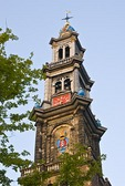 Amsterdam's Westerkerk Church Bell Tower on Prinsengracht Canal