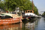 Amsterdam colorful canal boats