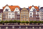 Dusseldorf apartment house facades facing Rhine River